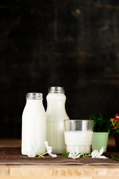 Milk healthy dairy products on table Free Photo