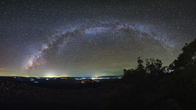 Milky way galaxy with knob stone ground is name lan hin pum Premium Photo