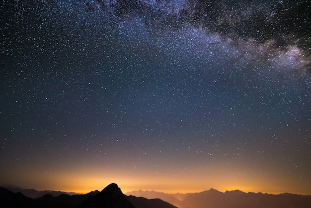 The milky way viewed from high up in the alps Premium Photo
