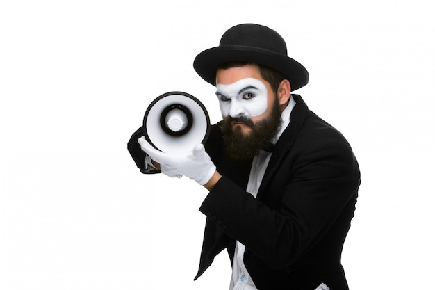Mime as business man with a megaphone Free Photo