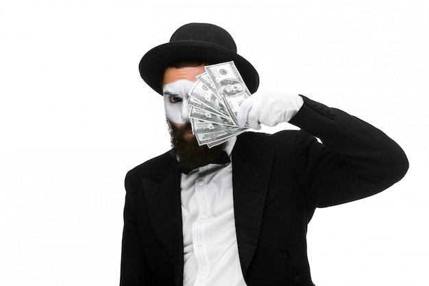 Mime as businessman holding money Free Photo