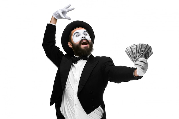 Mime as a businessman screaming with delight Free Photo