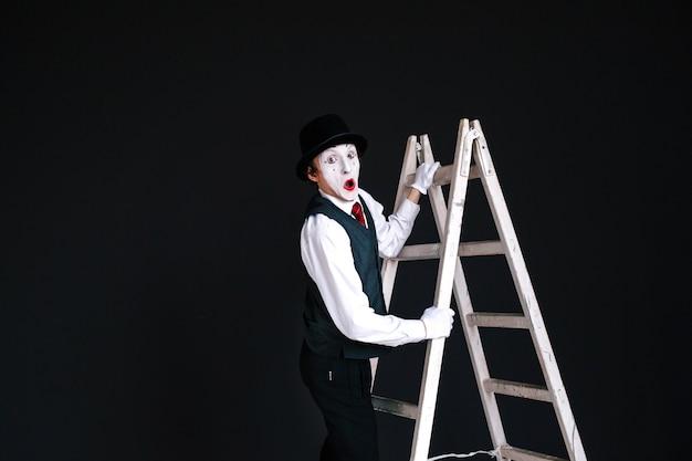 Mimeは白いはしごに立つ 無料写真