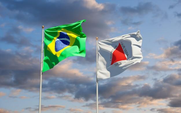 Minas gerais brazil state flag. 3d artwork Premium Photo