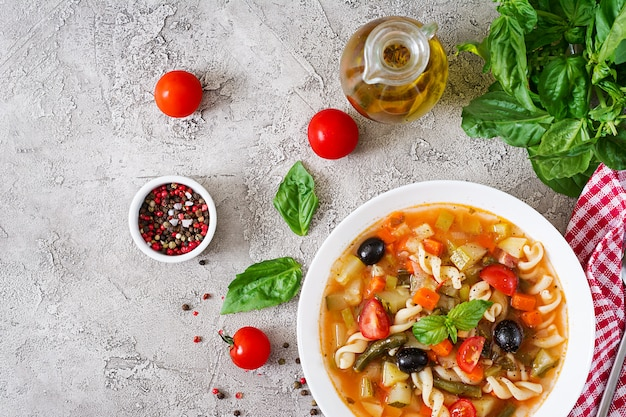 Minestrone, italian vegetable soup with pasta. vegan food. top view. flat lay. Free Photo