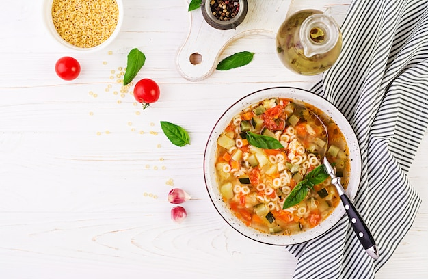 Minestrone vegetable soup with pasta Free Photo