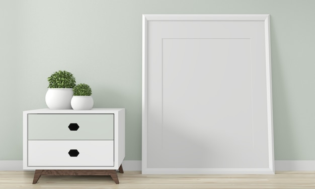 Mini cabinet japan minimal design and mock up decoration on zen room interior design.3d rednering Premium Photo