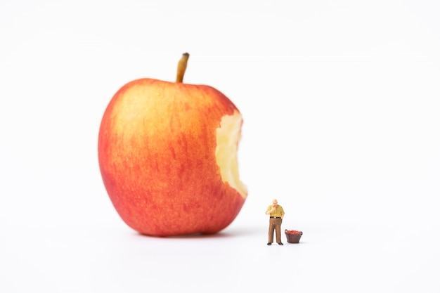 Miniature people, farmer climbing on the ladder for collecting red apples from big apple Premium Photo