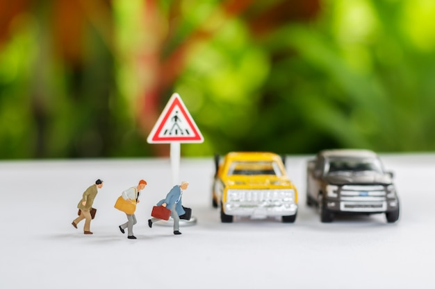 Miniature of people running cross the road go to work office Premium Photo