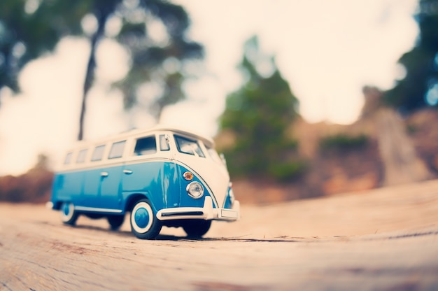 Miniature travelling vintage van. Color tone tuned photo Free Photo