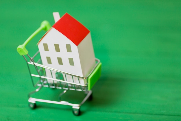 Miniature white house inside the shopping cart on green background Free Photo