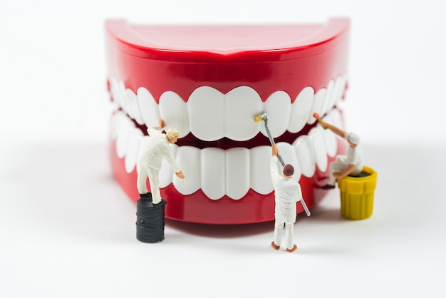 Miniature worker people are cleaning teeth model Premium Photo