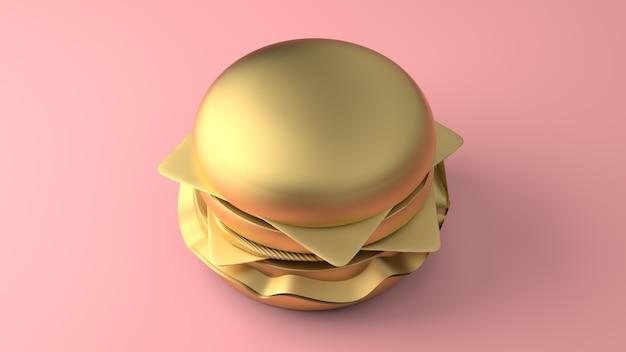 Minimal 3d gold cheeseburger Premium Photo