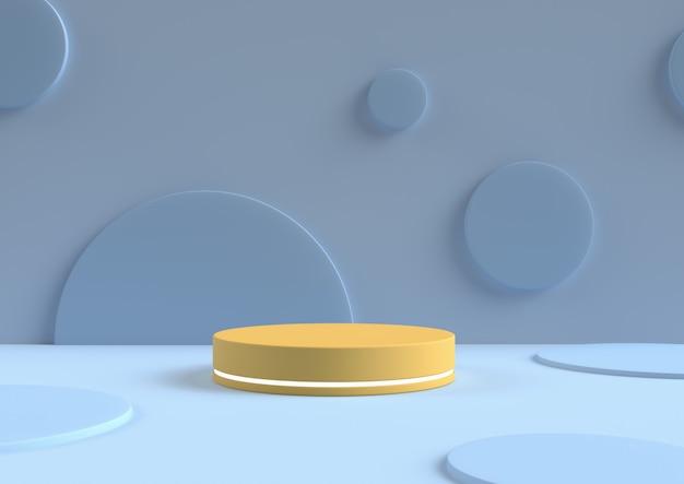 Minimal abstract background 3d rendering circle podium minimal geometric shape group Premium Photo