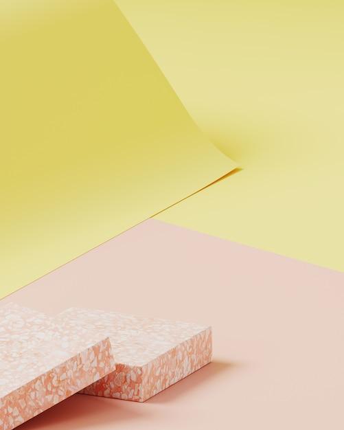 製品プレゼンテーションの最小限の背景。ピンクのテラゾー表彰台、黄色とピンク色の紙ロールの背景に化粧品ボトル。 3 dレンダリング図。 Premium写真