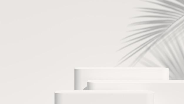 最小限の背景、製品表示用の表彰台のあるシーンのモックアップ。 3dレンダリング Premium写真