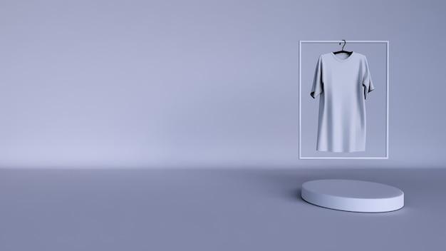 最小限の背景、製品展示用の表彰台付きのモックアップシーン。と無地の白いtシャツ Premium写真