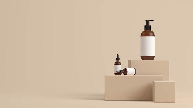 Minimal background, mock up scene with podium for product display. 3d rendering Premium Photo