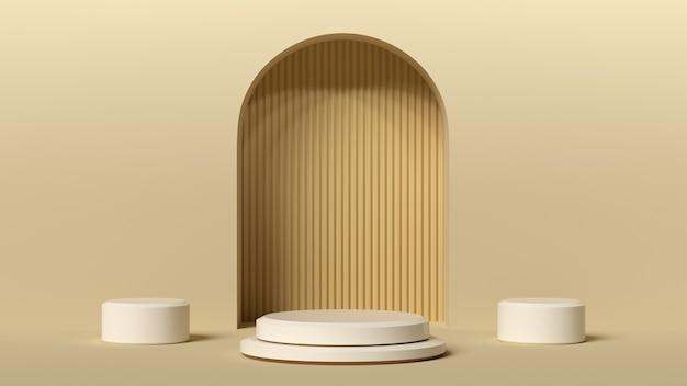 最小限の背景、製品展示用の表彰台でモックアップ、抽象的な白い幾何学図形 Premium写真