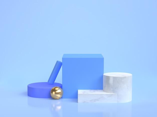 Minimal blue scene geometric shape group set 3d rendering Premium Photo
