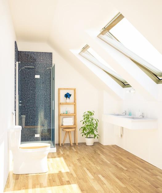 Минимальная чистая ванная комната на чердаке Premium Фотографии