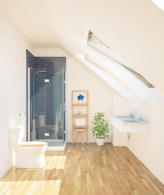 Минимальная чистая ванная Premium Фотографии