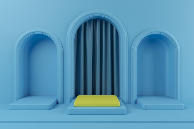Minimal concept outstanding yellow color podium and blue color podium  with blue color curtain for product. 3d rendering. Premium Photo