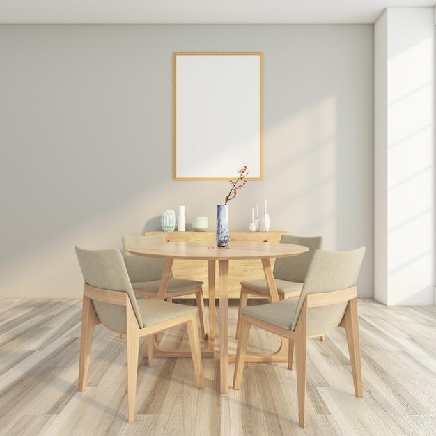 테이블과 의자, 목재 찬장, 회색 벽 및 액자가있는 최소한의 식당 프리미엄 사진