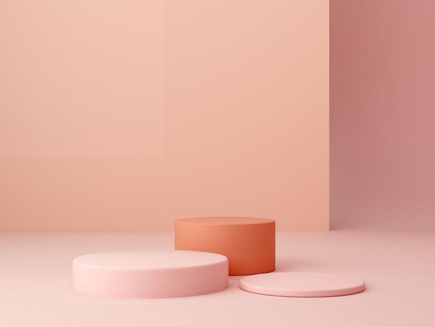 Минимальные шестиугольные коробки подиума. сцена с геометрическими формами. Premium Фотографии