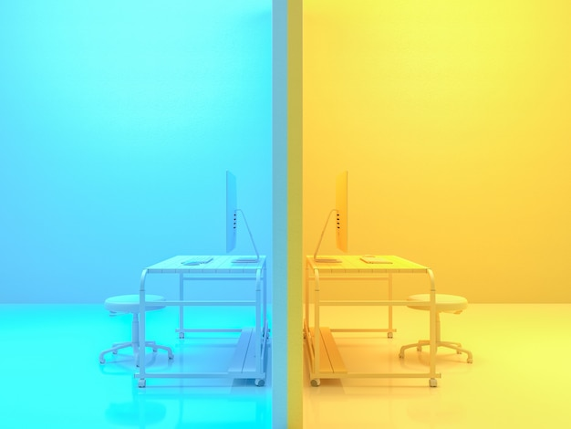 Minimal idea concept, computer on work desk wooden table yellow and blue color. 3d render. Premium Photo