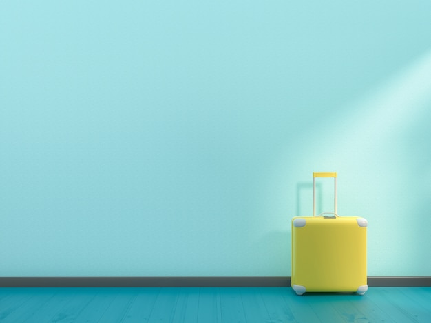 Minimal idea concept. suitcase yellow color Premium Photo