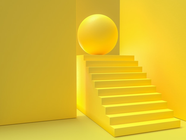 Minimal idea concept. yellow stairs background, 3d render. Premium Photo