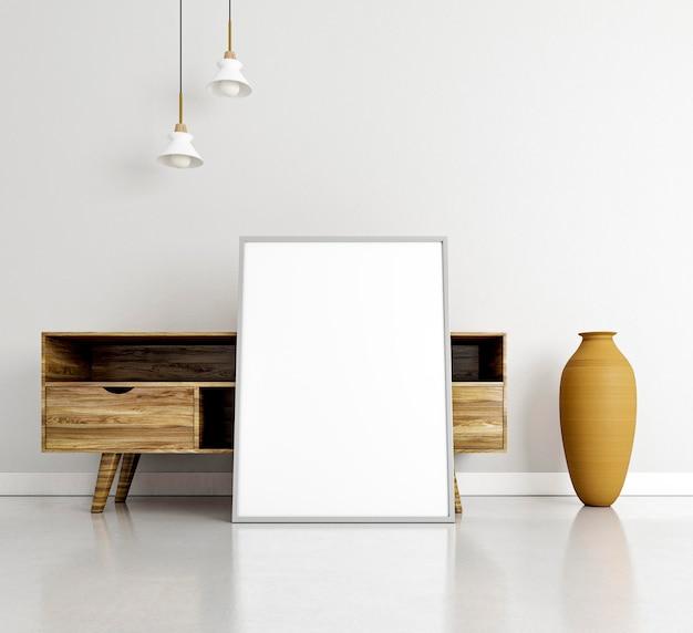 Минимальный дизайн интерьера с рамой и столом Premium Фотографии