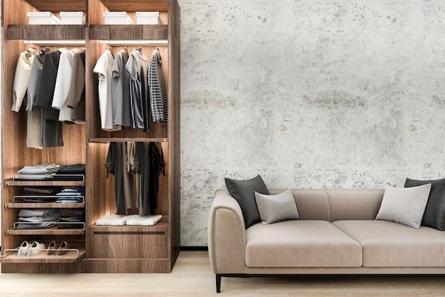 Минимальный диван-чердак с деревянным шкафом Premium Фотографии