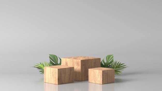 Минимальный роскошный коричневый прекрасный деревянный ящик подиум и зеленые листья на белом фоне Premium Фотографии