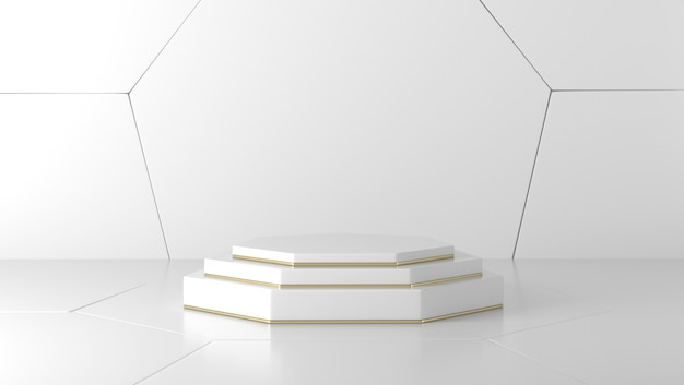 Minimal luxury white and gold marble cylinder, hexagon podium in white background Premium Photo