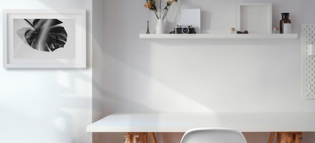 Premium Photo Minimal Office Room With White Wooden Empty Table With Copy Space And Decorations