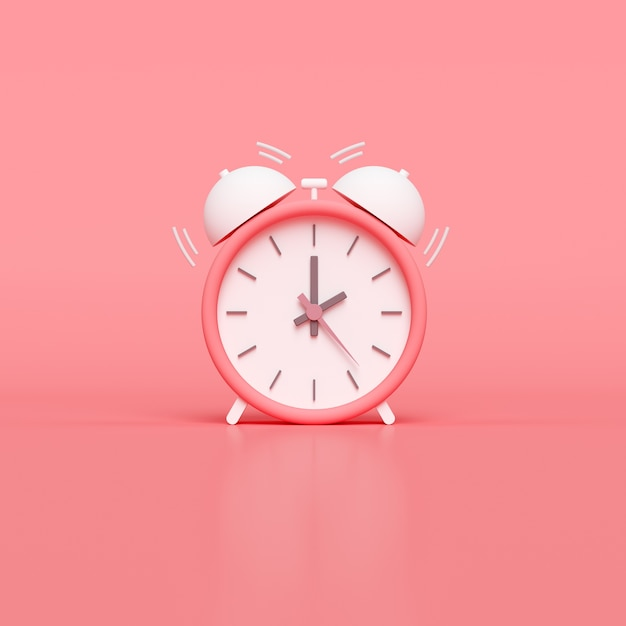 Minimal pink alarm clock. 3d render Premium Photo