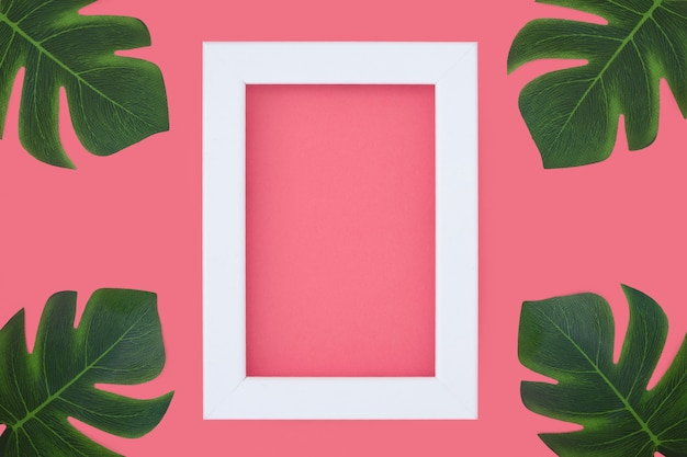 Minimal pink frame with tripical plants Free Photo