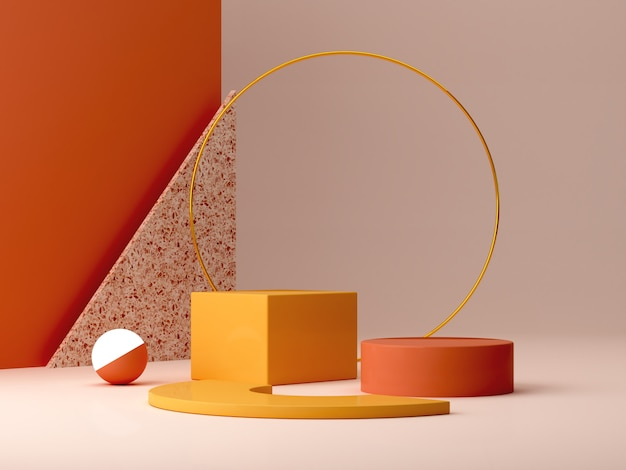 Minimal podium in ocher colors. scene with geometrical forms. gold ring, terrazzo wall, sphere with light and boxes. orange and yellow, autumn scene. . Premium Photo
