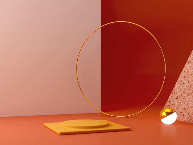 Minimal podium in ocher colors. scene with geometrical forms. gold ring, terrazzo wall, sphere with light and boxes. Premium Photo