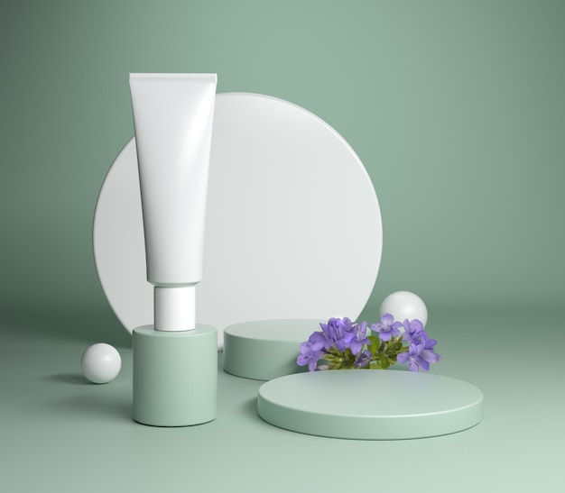 Minimal podium packaging cosmetic set with violet flower and sage green background 3d render Premium Photo