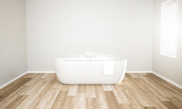Minimal room with hot water bath ready for relax Premium Photo