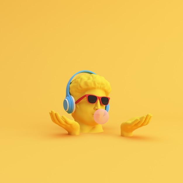 Минимальная сцена солнцезащитных очков и наушников на скульптуре человеческой головы, музыкальной концепции. Premium Фотографии