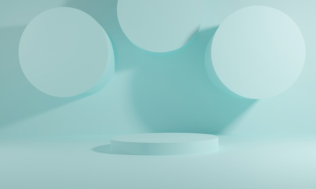 연단과 추상적 인 배경을 가진 최소한의 장면. 기하학적 모양. 3d 그림. 3d 렌더링. 프리미엄 사진