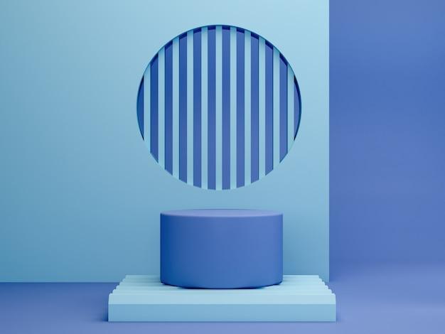 Минимальная сцена с подиума и абстрактный фон. геометрическая форма синие пастельные цвета сцены. минимальный 3d-рендеринг. сцена с геометрическими формами и синим фоном. 3d визуализация. Premium Фотографии