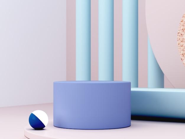 Минимальная сцена с подиума и абстрактный фон. геометрическая форма синие пастельные цвета сцены. минимальный 3d-рендеринг. сцена с геометрическими формами и кремовым фоном. 3d визуализация. Premium Фотографии