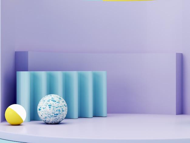 Минимальная сцена с подиума и абстрактный фон. геометрические фигуры. пастельные тона сцены. минимальный 3d-рендеринг. сцена с геометрическими формами и текстурированный фон для косметического продукта. 3d визуализация. Premium Фотографии
