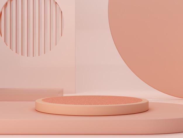 연단과 추상적 인 배경으로 최소한의 장면. 기하학적 모양. 파스텔 색상 장면. 최소 3d 렌더링. 기하학적 형태와 화장품에 대한 질감 배경 장면. 3d 렌더링 프리미엄 사진