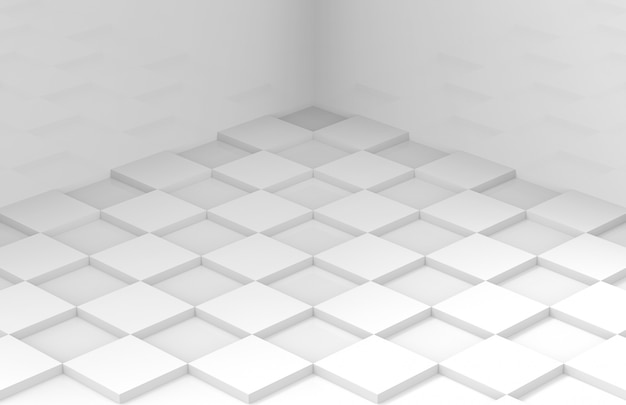 Minimal style white square grid tile floor corner room wall Premium Photo